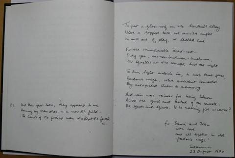 Two poems by Seamus Heaney, inscribed in the guest book of Barrie Cooke and Jean Valentine, 23 August 1990. Credit: The Heaney Estate.
